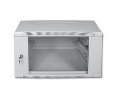 """Шкаф 19"""" настенный разборный Pleolan 6U (370x600x350), дверь стекло, серый"""